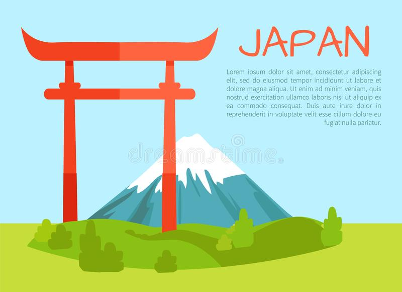 Torii Gate Poster and Text Vector Illustration. Torii Gate Japanese culture and architecture, sacred place with nature landscape, mountains peak in distance vector illustration