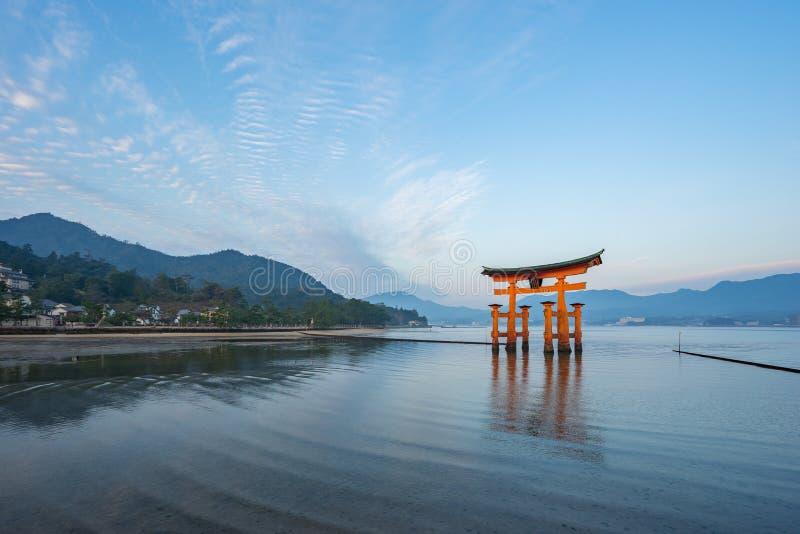 The Torii gate landmark of Japan in Miyajima Island.  royalty free stock photos
