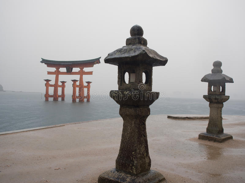 Torii Gate in the Ocean stock image