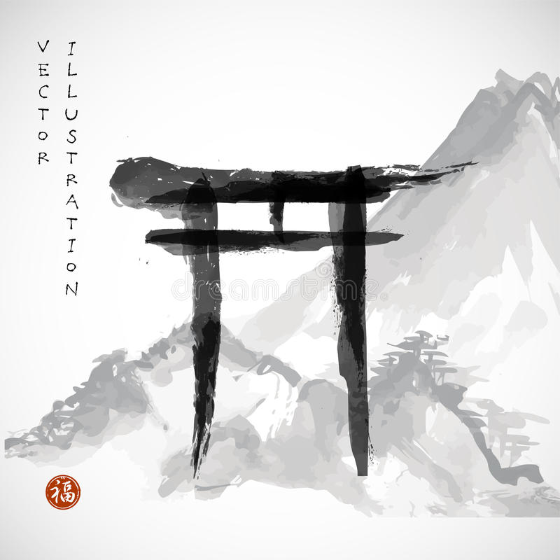 Free Torii Gates And Fujiyama Mountain Stock Image - 58598351