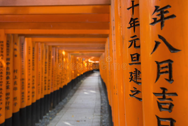 Torii gates in Fushimi Inari Shrine, Kyoto, Japan royalty free stock photography