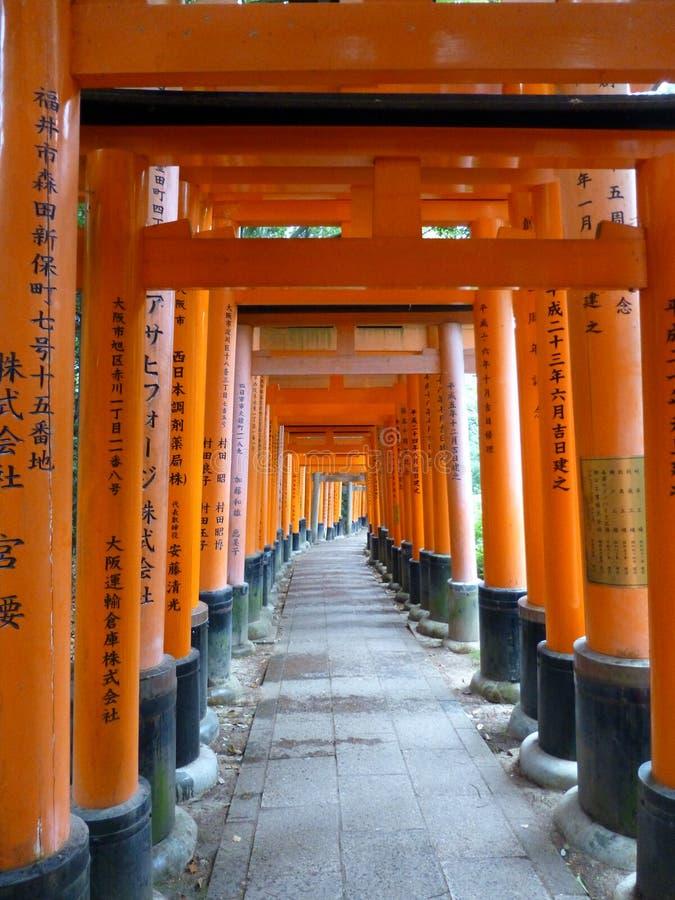 Torii gates at Fushimi Inari Taisha shrine in Kyoto, Japan royalty free stock photography