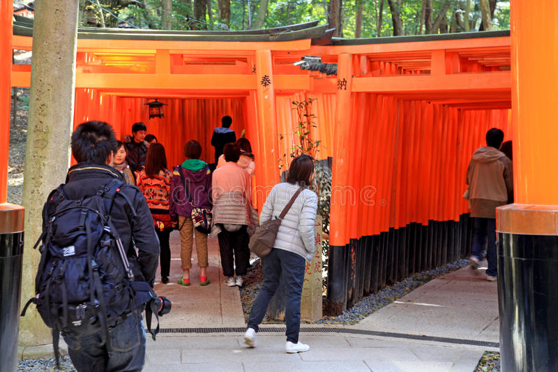 Torii gates of Fushimi Inari Shrine in Kyoto, Japan stock photo