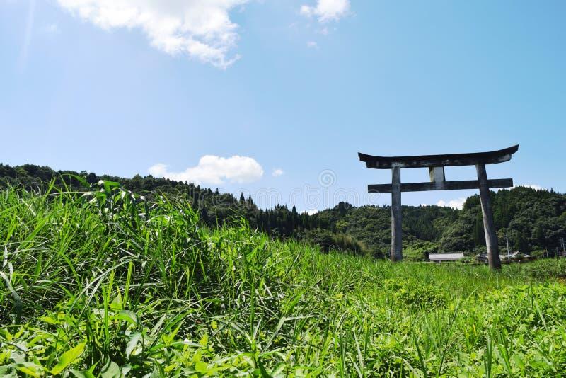 Torii and grassland stock photography