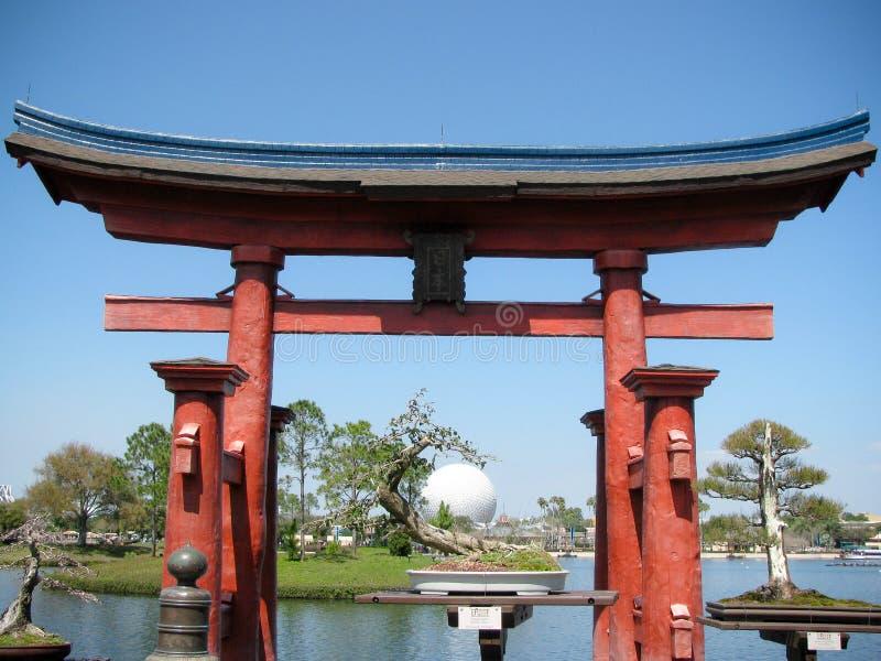 Torii of Itsukushima Shrine in front of the Japanese Pavilion stock photo