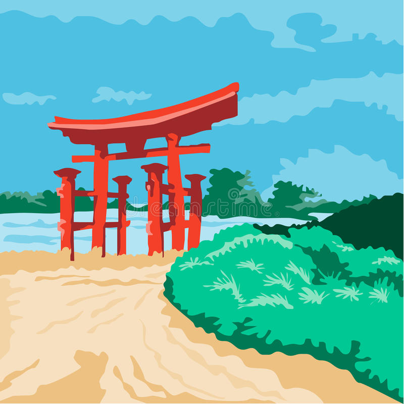 Torii Japanese Gate WPA. WPA style illustratoin of a Torii , a traditional Japanese gate most commonly found at the entrance of or within a Shinto shrine done in royalty free illustration
