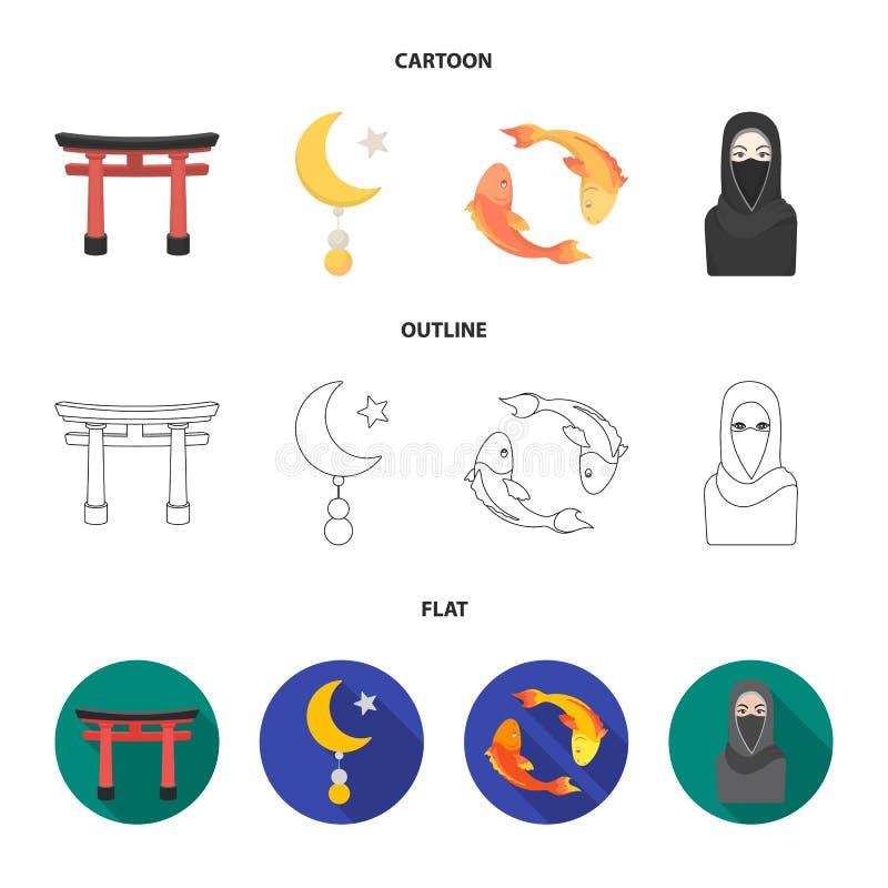 Torii, Karpfen koi, Frau im hijab, Stern und Halbmond Gesetzte Sammlungsikonen der Religion in der Karikatur, Entwurf, flacher Ar stock abbildung