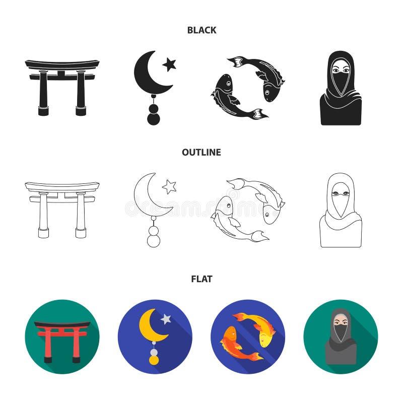 Torii, Karpfen koi, Frau im hijab, Stern und Halbmond Gesetzte Sammlungsikonen der Religion in Schwarzem, flach, Entwurfsartvekto vektor abbildung