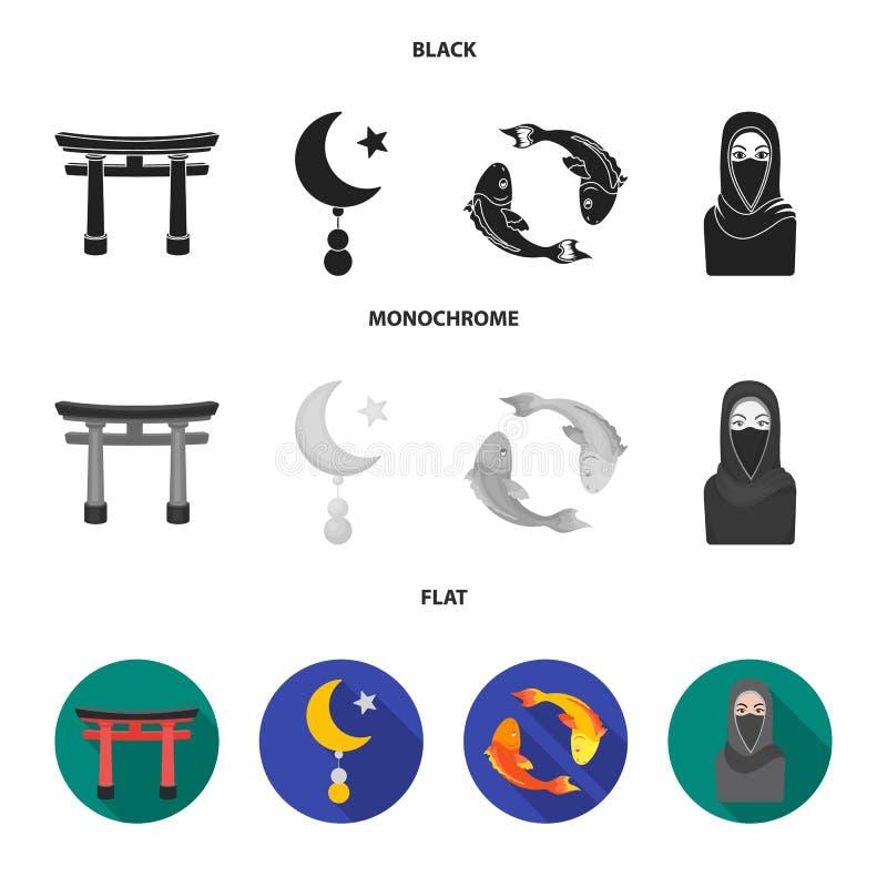 Torii, Karpfen koi, Frau im hijab, Stern und Halbmond Gesetzte Sammlungsikonen der Religion in der schwarzen, flachen, einfarbige stock abbildung