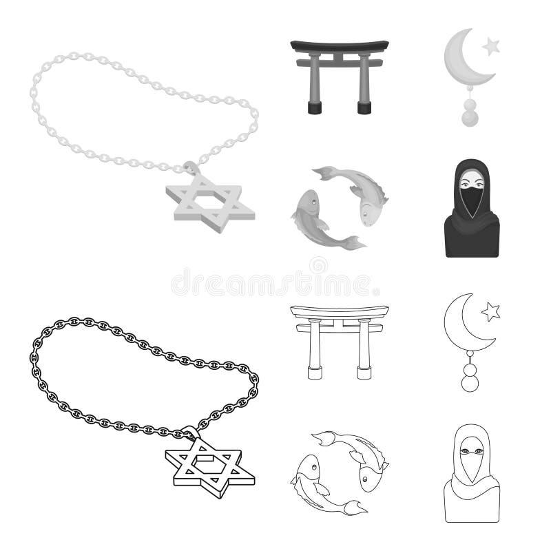 Torii, koi de la carpa, mujer en hijab, estrella y creciente Iconos determinados de la colección de la religión en el esquema, ve stock de ilustración