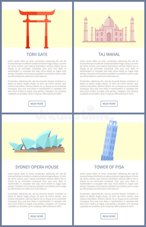 Torii port Sydney Opera House Vector Illustration stock illustrationer