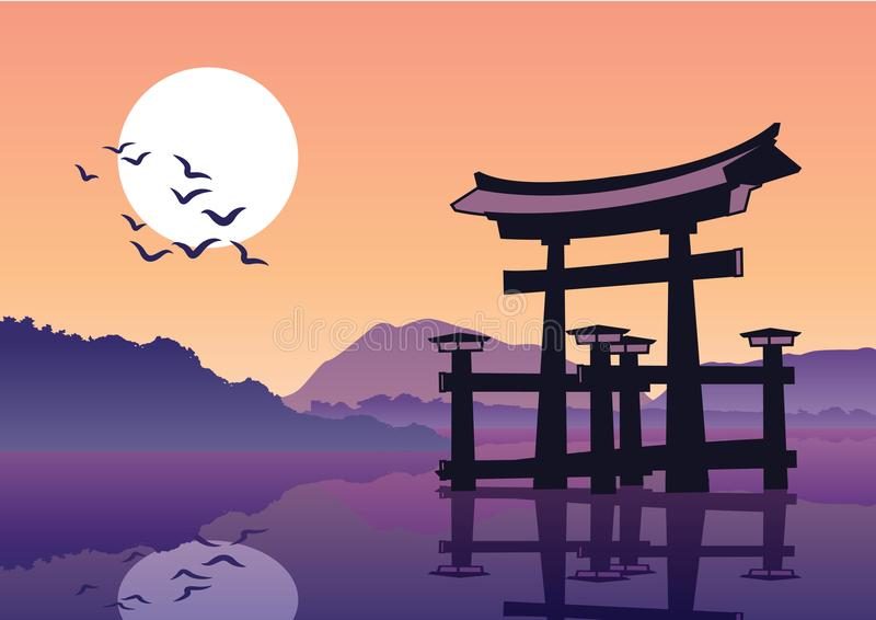Torii sławny punkt zwrotny Japonia, sylwetka styl ilustracji