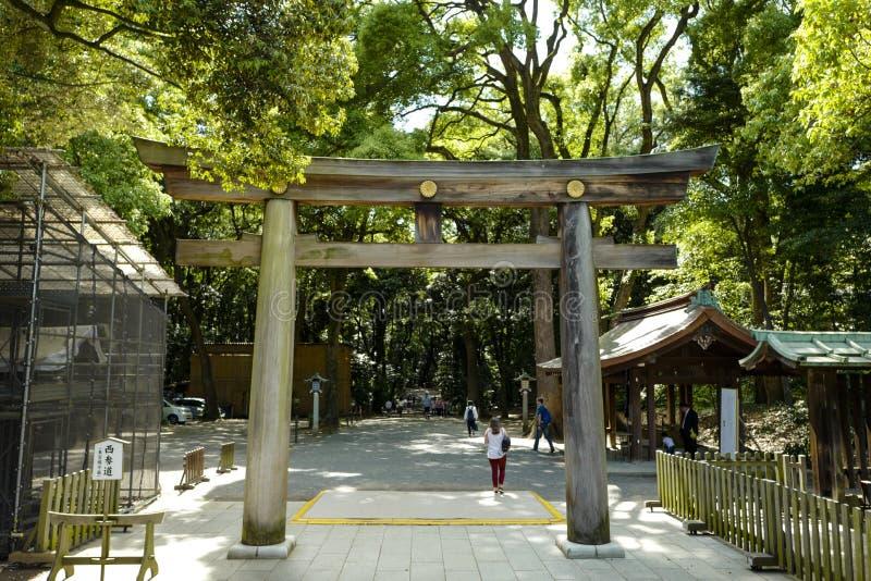 Torii som leder till Meiji Shrine, parkerar, lokaliserat i Shibuya, Tokyo arkivfoton