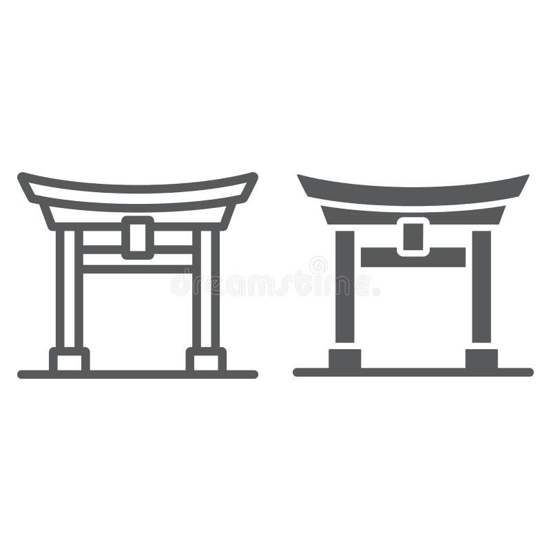 Torii-Torlinie und Glyphikone, Japan und Architektur, Japan-Torzeichen, Vektorgrafik, ein lineares Muster auf einem weißen vektor abbildung