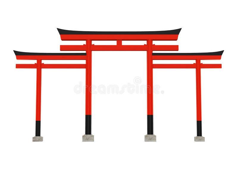 Torii Tradycyjna Japońska brama Odizolowywająca ilustracji