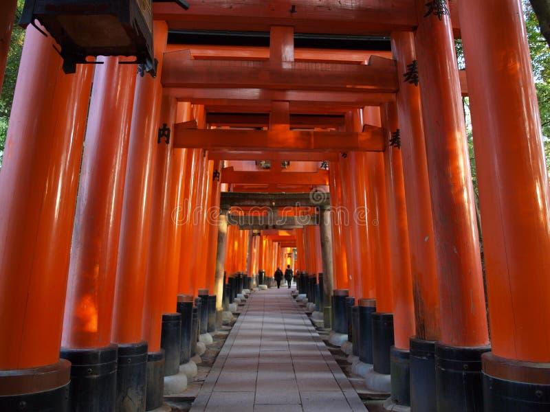 Toriipoorten van het heiligdom van Fushimi Inari, Kyoto, Japan stock foto