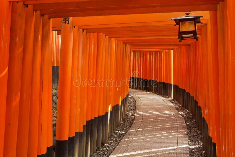 Toriipoorten van het Heiligdom van Fushimi Inari in Kyoto, Japan stock afbeeldingen