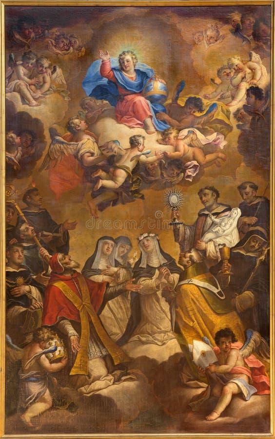 TORINO, ITALIA - 16 MARZO 2017: La pittura di giovane Gesù come il Pantokrator in Di San Massimo di Chiesa della chiesa da Giusep fotografie stock libere da diritti