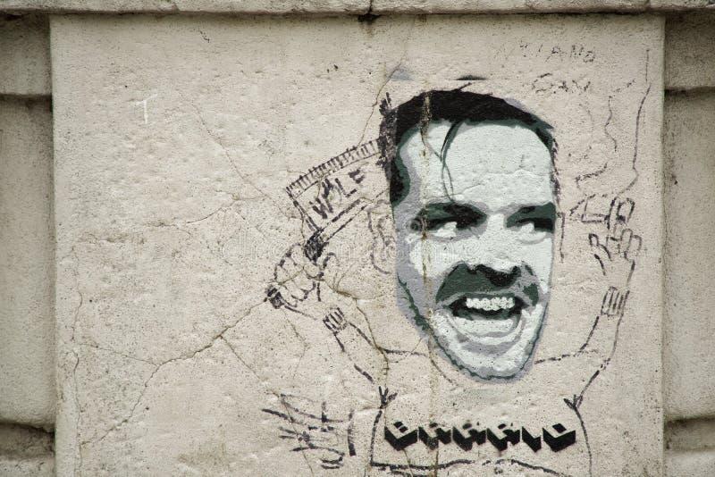 Torino Italien, 17 03 2019: gatakonst - ståenden av Jack Nicholson från film en flög över gökens rede royaltyfri fotografi