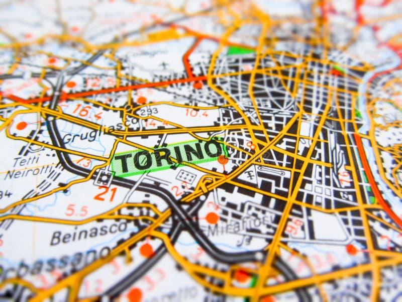 Torino miasto nad drogową mapą WŁOCHY fotografia royalty free