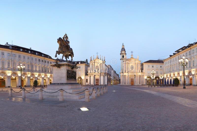Torino, quadrato del San Carlo, Italia fotografia stock libera da diritti