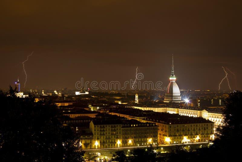 Torino, taupe Antonelliana et foudre - Turin photo libre de droits