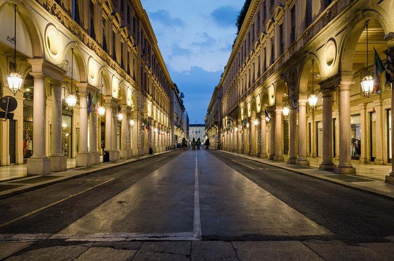 Torino via Roma arkivbild