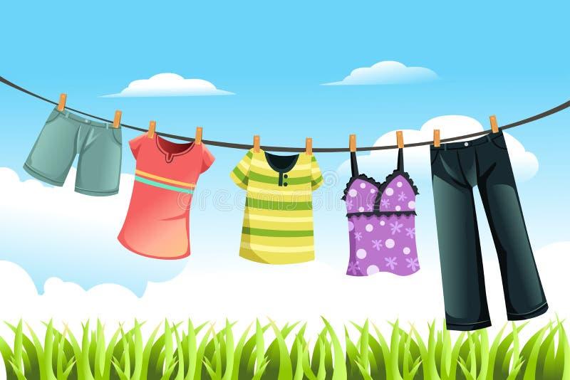 torka för kläder royaltyfri illustrationer