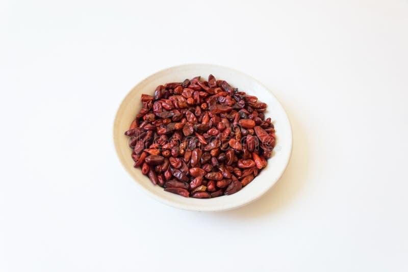 Torkad annuum Pequin för röd för fågelpeppar paprika för piquin peppar, iso royaltyfri bild