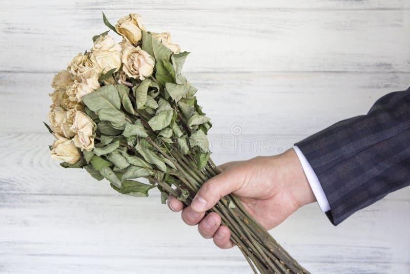 Torkad bukett av vita rosor i handen arkivbild