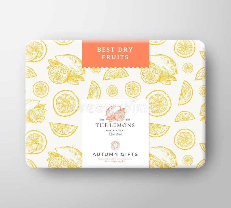 Torkad citrus kartong för frukter Abstrakt vektor sl?gen in pappers- beh?llare med etikettr?kningen F?rpackande design modernt vektor illustrationer