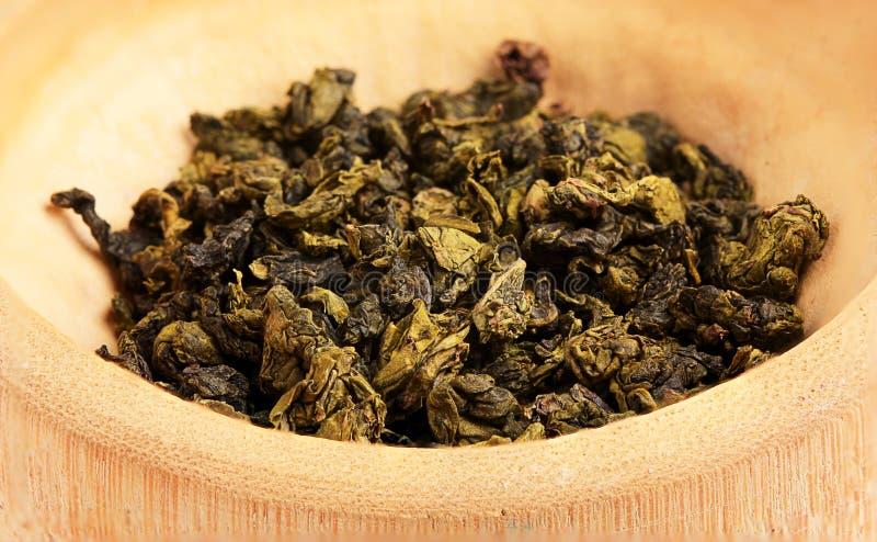 Torkad grön tebladnärbild. arkivfoto