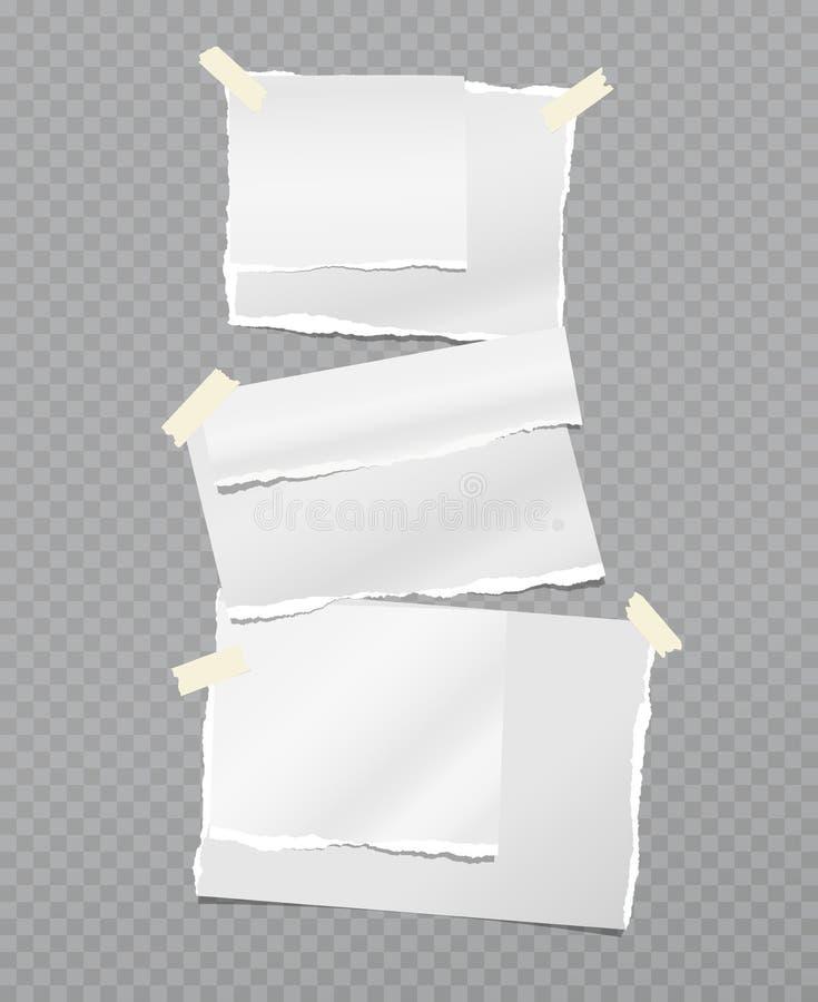 Torkad vit anteckning, remsa med klibbigt band på mörkgrå bakgrund Vektorillustration vektor illustrationer