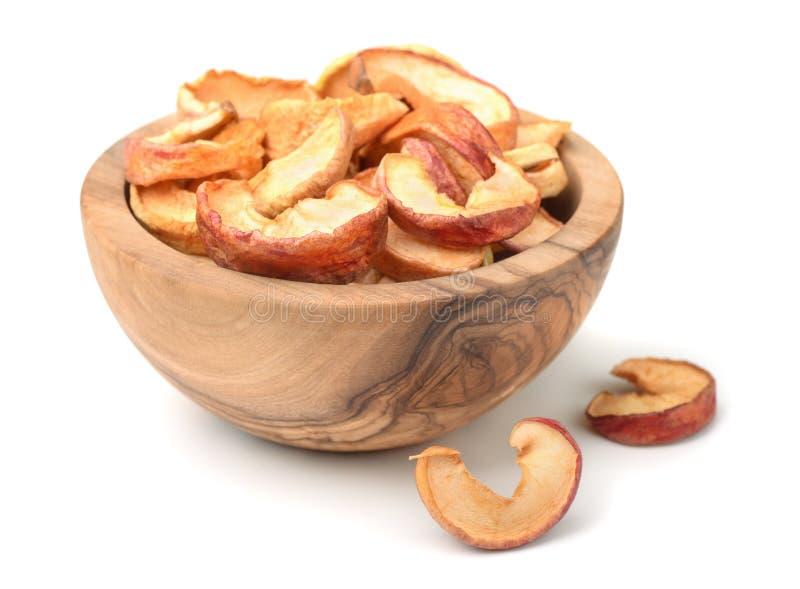 Torkade äppleskivor arkivbild