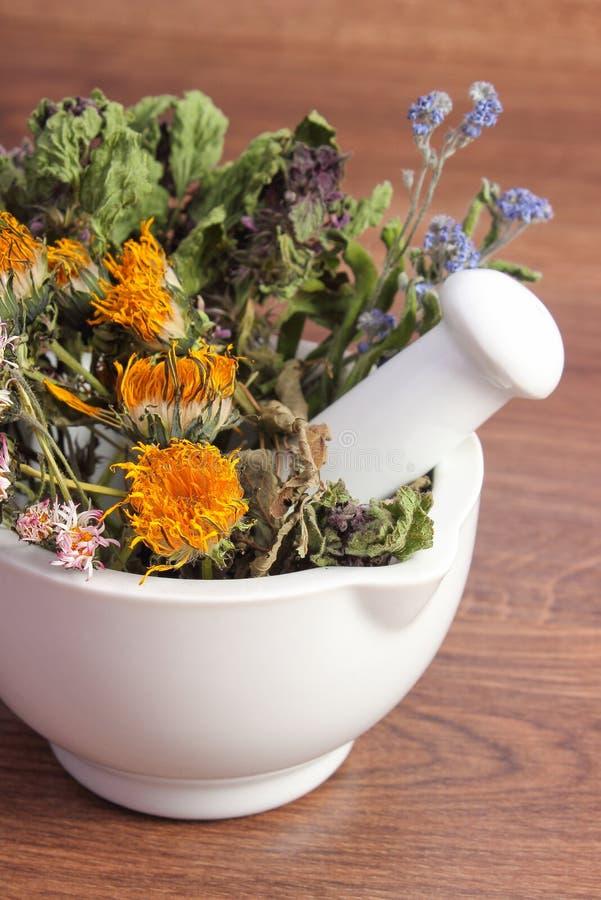 Torkade örter och blommor i vit mortel, herbalism, garnering arkivbilder