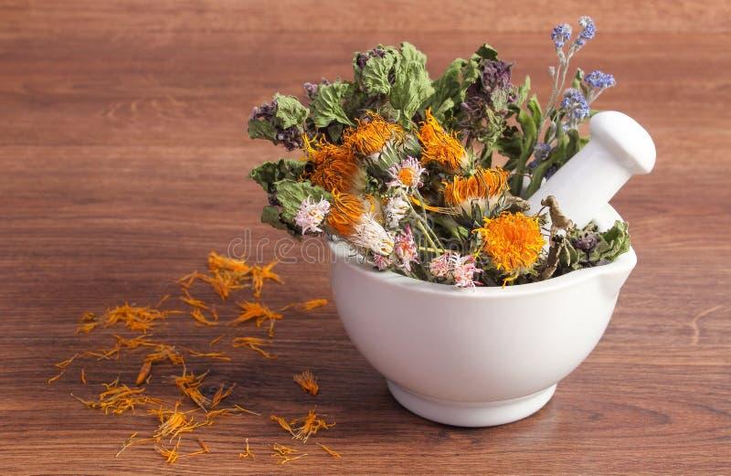 Torkade örter och blommor i vit mortel, herbalism, garnering fotografering för bildbyråer