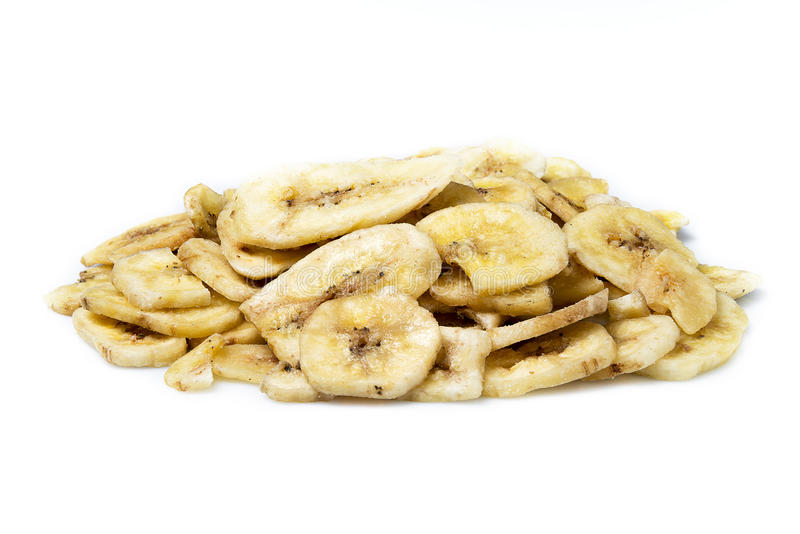 Torkade bananchiper royaltyfri fotografi