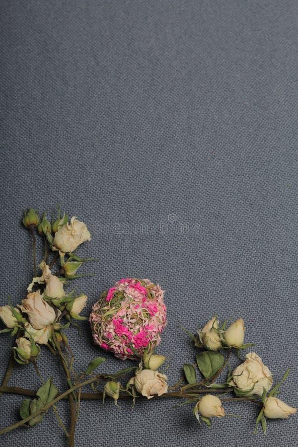 Torkade beigea rosor Mot bakgrunden av grov textur f?r gr?tt tyg E arkivbilder