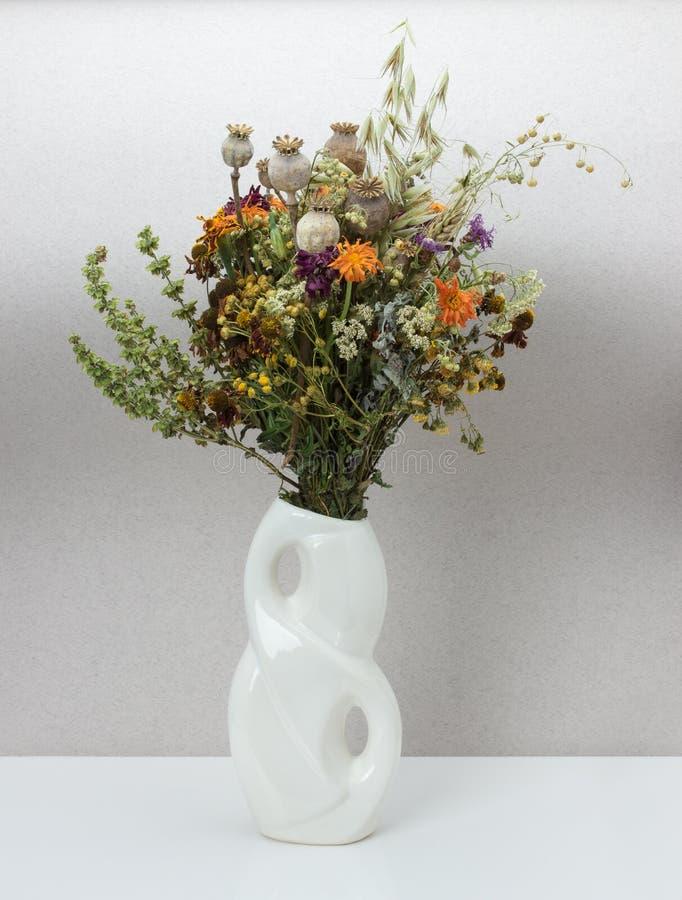 Torkade blommor i porslinvas arkivfoto