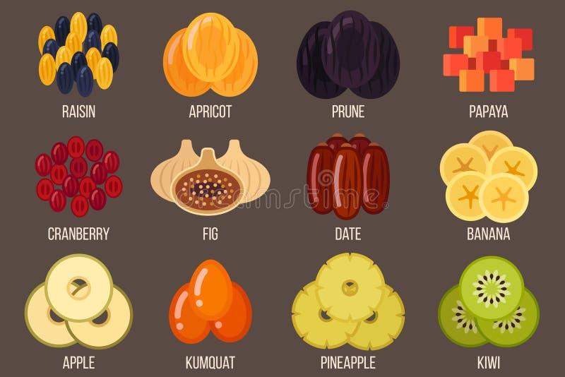 torkade frukter royaltyfri illustrationer
