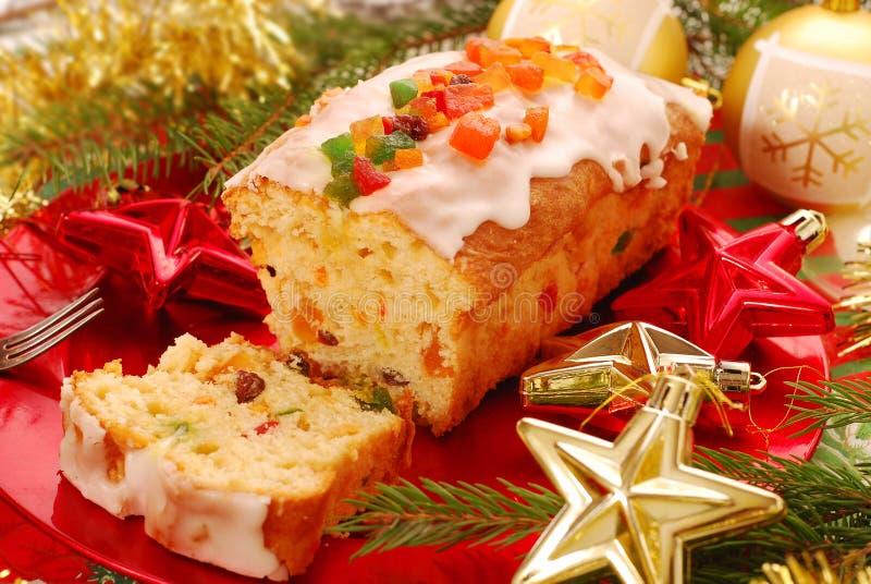 torkade frukter för cake jul royaltyfri bild