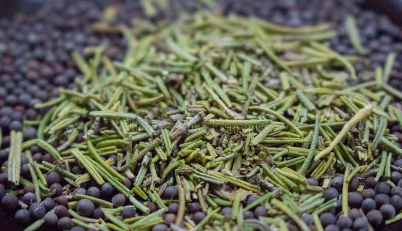 Torkade rosmarin med den svarta closeupen för senapsgult frö kryddor för bakgrundskopieringsavstånd Aromörter och kryddor royaltyfria foton