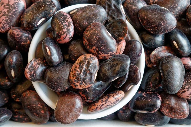 Torkade spräckliga bönor för njurebrunt begreppet av riktig näring och den sunda livsstilen Bästa sikt, närbild som bakgrund elle arkivfoton