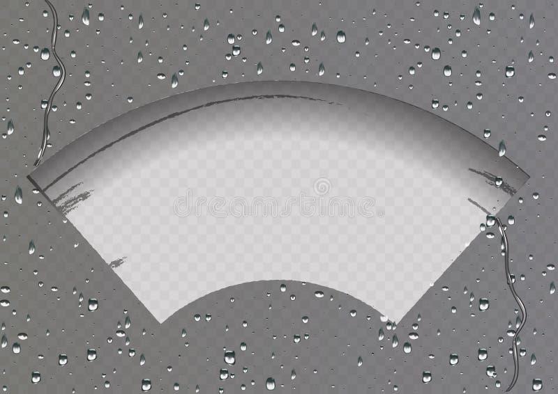 Torkaren g?r ren exponeringsglaset Regn och sn? p? genomskinlig bakgrund Genomskinlig effekt royaltyfri illustrationer