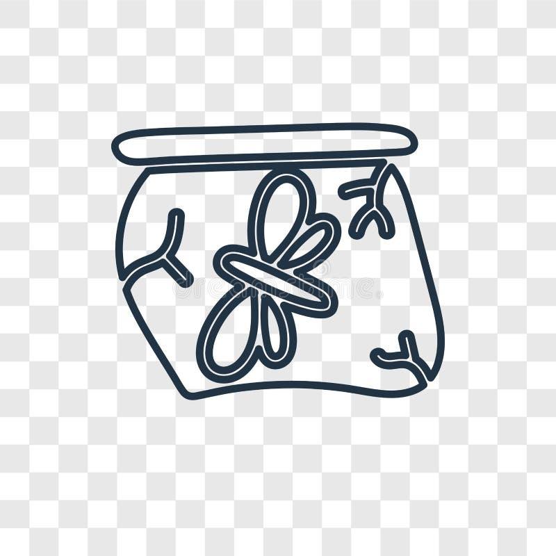 Torkat kryp i den linjära symbolen för bärnstensfärgad begreppsvektor som isoleras på tra stock illustrationer