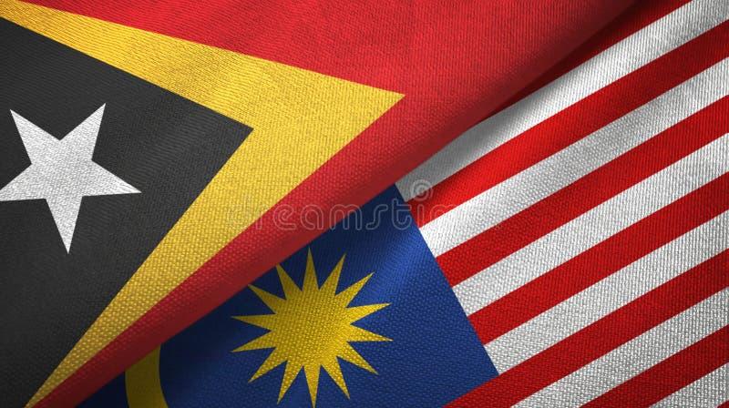 Torkduk för Östtimor och Malaysia två flaggatextil, tygtextur vektor illustrationer