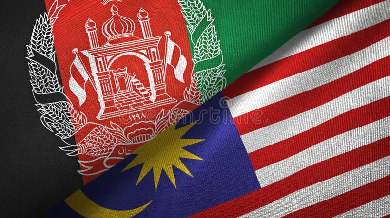 Torkduk för Afghanistan och Malaysia två flaggatextil, tygtextur royaltyfri illustrationer