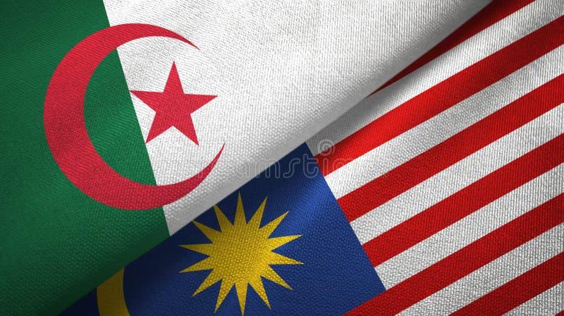 Torkduk för Algeriet och Malaysia två flaggatextil, tygtextur stock illustrationer