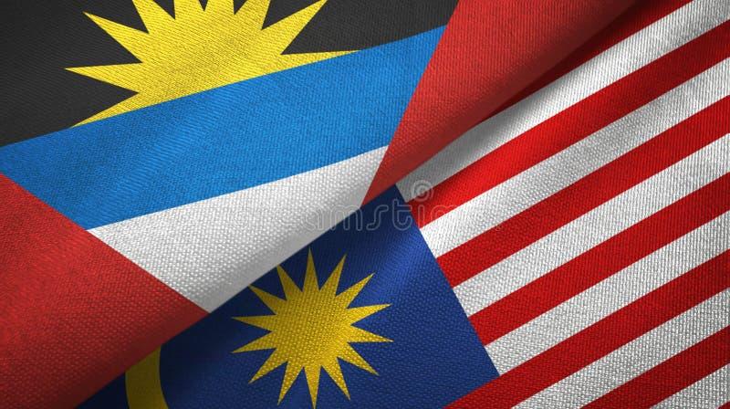 Torkduk för Antigua och Barbuda- och Malaysia två flaggatextil, tygtextur stock illustrationer