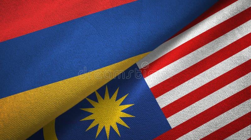 Torkduk för Armenien och Malaysia två flaggatextil, tygtextur vektor illustrationer